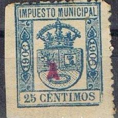 Sellos: 0220. SELLO MUNICIPAL MADRID 1906. 25 CTS, IMPUESTO LOCAL FISCAL º. Lote 96098643
