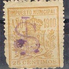 Sellos: 0220. SELLO MUNICIPAL MADRID 1900 AMARILLO. 25 CTS, IMPUESTO LOCAL FISCAL º. Lote 96099283