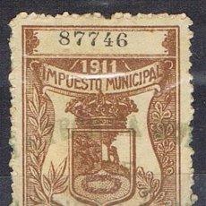 Sellos: 0220. SELLO MUNICIPAL MADRID 1911 CASTAÑO. 25 CTS, IMPUESTO LOCAL FISCAL º. Lote 96099399