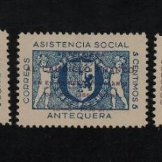 Sellos: ANTEQUERA, 5 CTS, SOBRECARGA VIOLETA,CAUDILLO FRANCO, VER FOTO. Lote 96108491