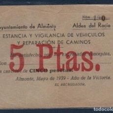 Sellos: AYAMONTE, 5 PTAS, ESTANCIA Y VIGILANCIA DE VEHICULOS Y REPARACION DE CAMINOS, AÑO 1939, VER FOTO. Lote 96108707
