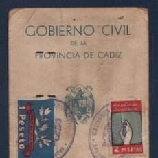Sellos: CADIZ, SALVOCONDUCTO, CON VIÑETAS, FAMOSO INSDUSTRIAL DEL VINO DEL PUERTO STA, MARIA,1940, VER FOTOS. Lote 96108995