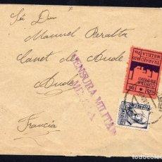 Selos: 1937 MELILLA - SOBRE CON 50C Y VIÑETA PRO PARO A FRANCIA.. Lote 96209327