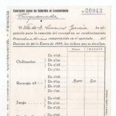 Sellos: RECIBO COMISIÓN LOCAL DE SUBSIDIO AL COMBATIENTE. TORQUEMADA. PALENCIA. 1939. GUERRA CIVIL. Lote 96232147