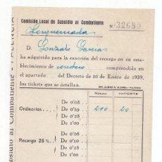 Sellos: RECIBO COMISIÓN LOCAL DE SUBSIDIO AL COMBATIENTE. TORQUEMADA. PALENCIA. ABRIL 1940. GUERRA CIVIL. Lote 96232303