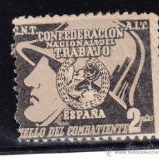 Sellos: ,,,TIMBRE C.N.T A.I.T CONFEDERACION NACIONAL DEL TRABAJO, ESPAÑA, SELLO DEL COMBATIE, 2PTAS C/CHARN. Lote 96450615