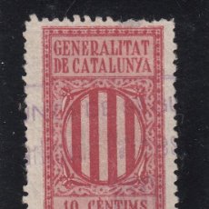 Sellos: ,,,TIMBRE GENERALITAT DE CATALUNYA, SELLO FISCAL, 10 CTMS, USADA,. Lote 96454107