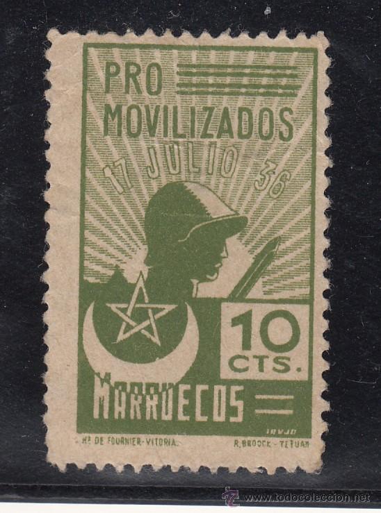 ,,,TIMBRE MARRUECOS, PRO MOVILIZADOS, 10 CTS., SIN GOMA, (Sellos - España - Guerra Civil - Locales - Usados)