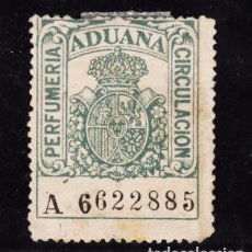 Sellos: ,,,FISCAL ADUANA, PERFUMERIA CIRCULACION, CORONA REAL, SERIE A, USADA. Lote 96713967