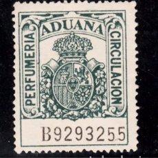 Sellos: ,,,FISCAL ADUANA, PERFUMERIA CIRCULACION, CORONA REAL, SERIE B, SIN GOMA. Lote 96713999