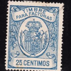 Sellos: ,,,FISCAL TIMBRE PARA FACTURAS, 25 CTS. USADA,. Lote 96716967