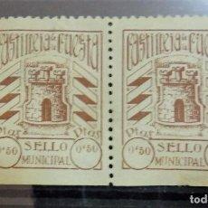 Sellos: RARISIMA PAREJA SELLO FISCAL MUNICIPAL DE 50 CENTIMOS DE CASTILLEJA DE LA CUESTA, SEVILLA. Lote 96785875