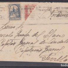 Sellos: ,,,07FRAGMENTO SEVILLA A SEVILLA, DIRIGIDA AL GENERAL QUEIPO DE LLANO, FRANQUEO BISEPTADO EE. EE. Y+. Lote 96970111