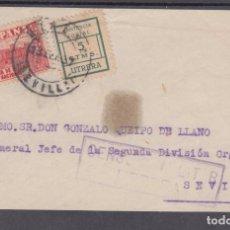 Sellos: ,,,09FRAGMENTO UTRERA A SEVILLA, DIRIGIDA A GENERAL QUEIPO DE LLANO Y LOCAL UTRERA ASISTENCIA SOCIAL. Lote 96982127