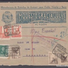 Sellos: ,,,10FRONTAL ALAGON CERTIFICADA A ZARAGOZA, CENSURA MILITAR ALAGON, MARCA PATRIOTICA ¡VIVA ESPAÑA!. Lote 96983159