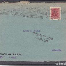 Sellos: ,,,18 FRONTAL PAMPLONA RODILLO ACEITE OLIVA A ZARAGOZA, CENSURA MILITAR PAMPLONA. Lote 96985323