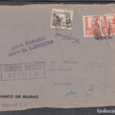 Sellos: ,,,21 FRONTAL SEVILLA CERTIFICADA A ZARAGOZA, CENSURA MILITAR SEVILLA MARCA PATRIOTICA ¡VIVA ESPAÑA+. Lote 96986175