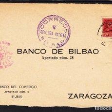 Sellos: ,,,11FRONTAL BILBAO A ZARAGOZA, CENSURA MILITAR CORREOS BILBAO, MARCA PATRIOTICA SALUDO A FRANCO EF+. Lote 96987299