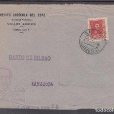 Sellos: ,,,16FRONTAL GALLUR (ZARAGOZA) A ZARAGOZA, MARCA PATRIOTICA EFIGIE SALUDOS A FRANCO ¡ARRIBA ESPAÑA!. Lote 96998139