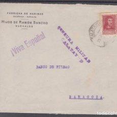 Sellos: ,,,13FRONTAL CALATAYUD ZARAGOZA) A ZARAGOZA CENSURA MILITAR CALATAYUD MARCA PATRIOTICA ¡VIVA ESPAÑA!. Lote 97004151