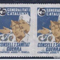Sellos: GENERALITAT DE CATALUNYA. CONSELL DE SANITAT DE GUERRA. (PAREJA). LUJO.. Lote 97207699