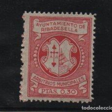 Sellos: RIBADESELLA, 0,30 PTAS, -ARBITRIOS MUNICIPALES-, VER FOTO. Lote 97563715