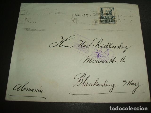 SEVILLA 1937 CARTA CIRCULADA A ALEMANIA CENSURA MILITAR SELLO 50 CTS Y PRO SEVILLA AL DORSO (Sellos - España - Guerra Civil - De 1.936 a 1.939 - Cartas)