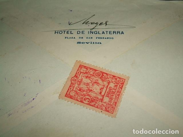 Sellos: SEVILLA 1937 CARTA CIRCULADA A ALEMANIA CENSURA MILITAR SELLO 50 CTS Y PRO SEVILLA AL DORSO - Foto 2 - 97661415