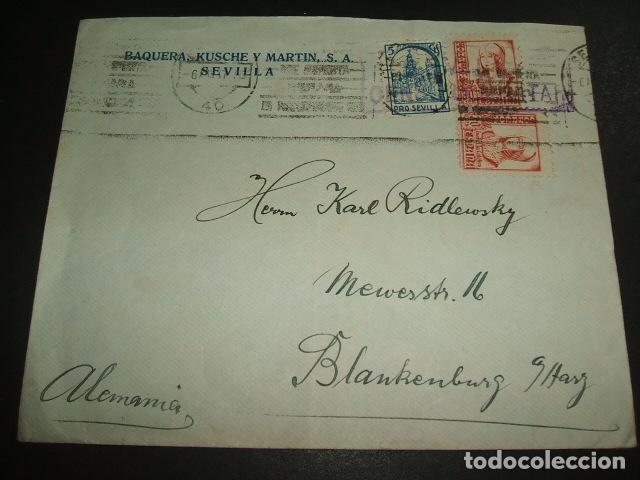 SEVILLA 1937 CARTA CIRCULADA A ALEMANIA CENSURA MILITAR SELLOA 30 CTS Y PRO SEVILLA BAQUERA KUSCHE (Sellos - España - Guerra Civil - De 1.936 a 1.939 - Cartas)