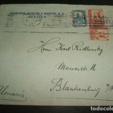 Sellos: SEVILLA 1937 CARTA CIRCULADA A ALEMANIA CENSURA MILITAR SELLOA 30 CTS Y PRO SEVILLA BAQUERA KUSCHE. Lote 97661603