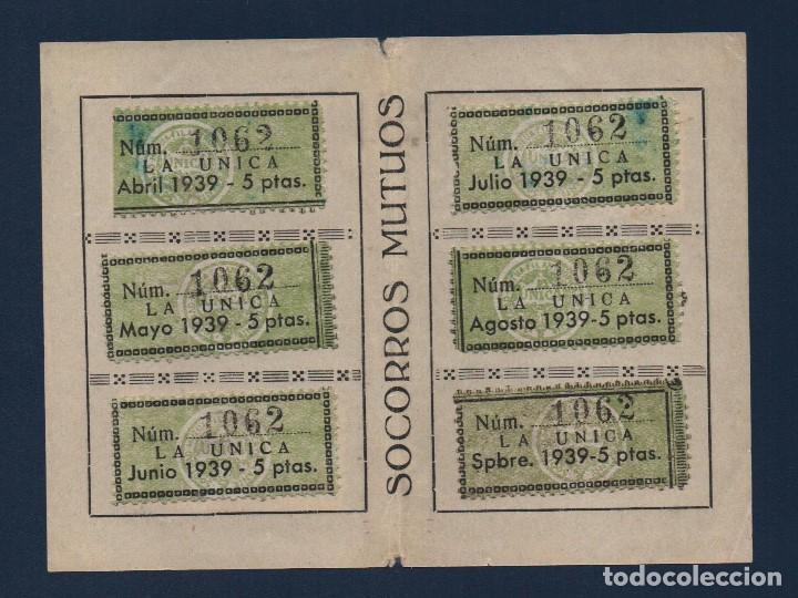 MADRID,CARNET, SOCORROS MUTUOS -LA UNICA- CON 9 VIÑETAS DE 5 PTAS, FECHA ENERO/DIC. 1939, VER FOTOS (Sellos - España - Guerra Civil - Locales - Usados)
