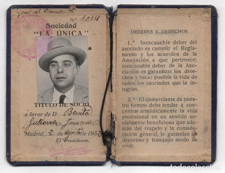 Sellos: MADRID,CARNET, SOCORROS MUTUOS -LA UNICA- CON 9 VIÑETAS DE 5 PTAS, FECHA ENERO/DIC. 1939, VER FOTOS - Foto 2 - 98127447