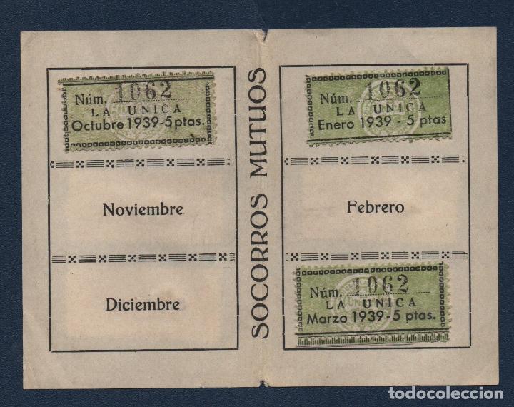 Sellos: MADRID,CARNET, SOCORROS MUTUOS -LA UNICA- CON 9 VIÑETAS DE 5 PTAS, FECHA ENERO/DIC. 1939, VER FOTOS - Foto 3 - 98127447