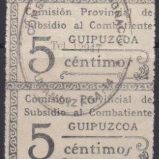 Sellos: VIÑETA COMISIÓN PROVINCIAL DE SUBSIDIO AL COMBATIENTE , GUIPUZCOA 5 CTS , . Lote 98447383