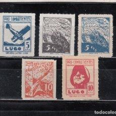 Sellos: LUGO. PRO-COMBATIENTES. 5 SELLOS. DE 5 Y 10 CTS.. Lote 98497879