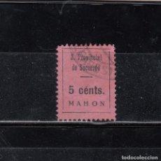 Sellos: MAHON. JUNTA PROVINCIAL DE SEGUROS. 5 CTS.. Lote 98499331