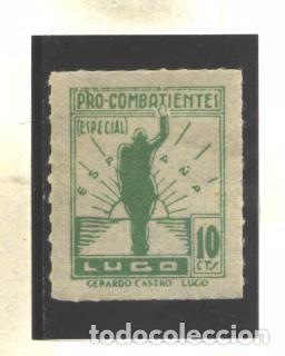 ESPAÑA - LUGO - PRO COMBATIENTES 10 CTS. VERDE - NUEVO (Sellos - España - Guerra Civil - Viñetas - Usados)