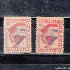 Sellos: VILLANUEVA. 2 SELLOS ANTIFASCISTAS DE 5 Y 10 CTS.. Lote 98648791