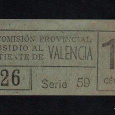 Sellos: VALENCIA, 15 CTS, SUBSIDIO AL COMBATIENTE, TIPO A. VER REVERSO, VER FOTOS. Lote 98677815