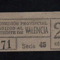 Sellos: VALENCIA, 25 CTS, SUBSIDIO AL COMBATIENTE, TIPO B. VER REVERSO, VER FOTOS. Lote 98678355