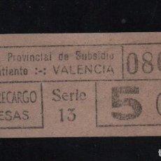 Sellos: VALENCIA, 5 CTS, RECARGO,SUBSIDIO AL COMBATIENTE, TIPO B. VER REVERSO, VER FOTOS. Lote 98678631