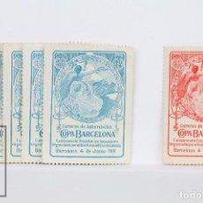 Sellos: 6 VIÑETAS CARRERAS DE AUTOMOVILES / COPA BARCELONA - REAL AUTÓMOVIL CLUB DE CATALUNYA- AÑO 1911. Lote 98946811