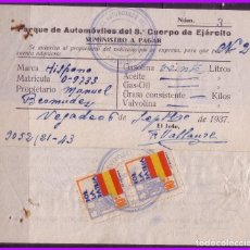 Sellos: ASTURIAS, GUERRA CIVIL, FESOFI Nº 9 (O) VALE DE GASOLINA CON DOS SELLOS. Lote 99295835