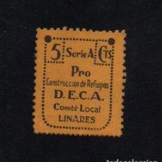 Sellos: LINARES, JAEN, 5 CTS, PRO CONSTRUCCION DE REFUGIOS, D.E.C.A. VER FOTO. Lote 99341243