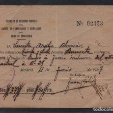 Sellos: MADRID, ARMA DE INFANTERIA, SOCIEDAD SOCORRO MUTUOS, AÑO 1937, VER FOTO. Lote 99511107
