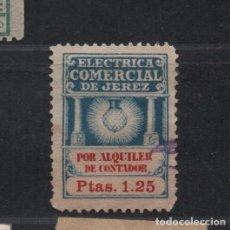 Sellos: JEREZ, 1,25 PTAS, ELECTRICA COMERCIAL POR ALQUILER DE CONTADOR,, VER FOTO. Lote 99514999