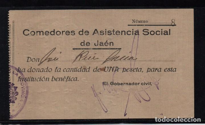 JAEN, 1 PTA, DONATIVO PARA, COMEDORES DE ASISTENCIA SOCIAL, VER FOTO (Sellos - España - Guerra Civil - Beneficencia)