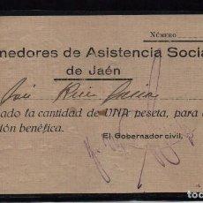 Sellos: JAEN, 1 PTA, DONATIVO PARA, COMEDORES DE ASISTENCIA SOCIAL, VER FOTO. Lote 99515499