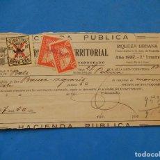 Sellos: RECIBO DE CONTRIBUCIÓN TERRITORIAL. 1937. CON SELLOS LOCALES. MALLORCA.. Lote 100012199