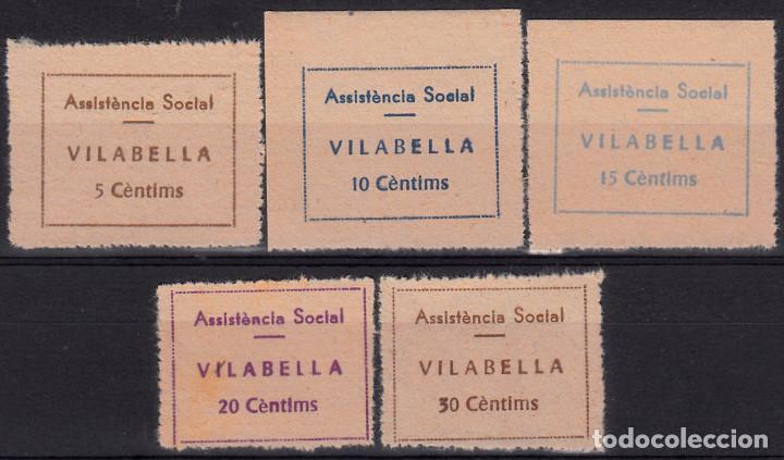 VIÑETAS - COLECCION DE SELLOS DE GUERRA CIVIL -ASSISTENCIA SOCIAL VILABELLA - 5 VALORES DENTADOS (Sellos - España - Guerra Civil - De 1.936 a 1.939 - Nuevos)